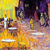 rosefox: A painting of a sidewalk cafe at night. (dining out, night owl)