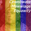 "rosefox: Peter Cook with rainbow stripes and the words ""Cewebwate Mawwiage Equawity"". (mawwiage)"