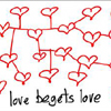 "rosefox: Lots of hearts with lines connecting them and the caption ""Love begets love"". (kindness)"