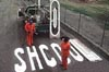 "rosefox: Road workers realizing they just stenciled ""SHCOOL"" on a road. (school-bad)"
