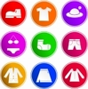 rosefox: Nine icons depicting different items of clothing. (clothes)