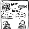 """rosefox: H.G. Wells's airship blowing up Jules Verne's dirigible. Verne: """"My dirigible!"""" Wells: """"Oh no! I'm sorry!"""" (disaster)"""