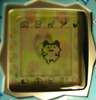 tamagotchi: the sticker on my keitai when I first got it. (Mametchi)