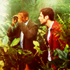amihan: dule hill as burton guster and james roday as shawn spencer in 'psych', with shawn facing gus who's holding binoculars ([psych] shawn & gus (binoculars))