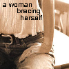 """xnera: Icon captioned """"a woman bracing herself."""" (challenges, tough times, bracing, hard times)"""