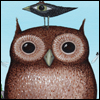 koramberlynne: A surprised-looking owl with a small, amusingly large-eyed bird on its head. (default.owl)