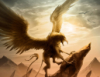 grayfoxblog: painting of a gryphon backlit by the sun (Default)