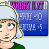 sqbr: Hannelore: Worry hat! Bravery plus 10, charisma plus 5 (worry hat)