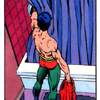 cmshaw: DC Comics: Tim, halfway stripping the Robin uniform, tests the water in the shower (Clean Robin)