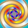 unsticking: A swirl from the mandelbrot set, bright colors in the middle and pastels around (Default)