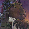 melannen: a capybara with early aviator gear and a dark expression (capybara)