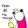 """jamethiel: A cartoon figure stands, holding a broom and looking depressed. Text to the left says """"Clean All the Things?"""" (CleanAllOfTheThings?)"""