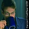 "jamethiel: Daniel looking down, drinking coffee. Text says ""Daniel+Coffee=OTP"" (Danielcoffee)"