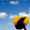jamethiel: A blue sky with a pompom raised in the lower right corner (CheerSky)