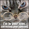 """jamethiel: Disapproving cat, wearing glasses. Text: """"I'm in your icon, correcting your spelling"""" (Spelling!Lolcat)"""