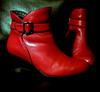 jamethiel: Red shiny ankle boots against a black background (shoes!)
