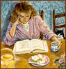 laurashapiro: a woman sits at a kitchen table reading a book, cup of tea in hand. Table has a sliced apple and teapot. A cat looks on. (0)