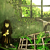 avia: A girl sitting and holding her knees, in an abandoned house grown over with green things. (green house)