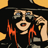muccamukk: Natasha lowering her sunglasses to see over the top. She looks alarmed. (Marvel: Shades)