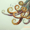 snakeykraken: curling orange tentacles on a pale green background with a Royal Mail postmark (tentacles)