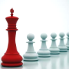 kittydesade: a bright red queen chess piece at the head of a diagonal line of white pawns on a white background (red queen running)