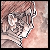 jjhunter: profile of human J.J. with goggles and a band of gears running down her face; inked in reds and browns (steampunk J.J.)