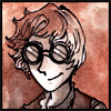 jjhunter: Drawing of human J.J. in red and brown inks with steampunk goggle glasses (red J.J. inked)