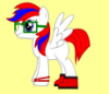 jamethiel: A white pony with red boots, square glasses and a red and blue mane and tail (MyLittlePony)