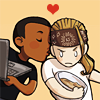 arduinna: chibi art of Hardison smooching grumpy Eliot on the cheek (Eliot/Hardison)