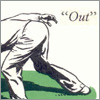 "eyebrowofdoom: A vintage illustration of a cricketer crouching over to field. The word ""Out"" appears next to his bum. (Default)"