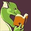 frameacloud: A stylized green dragon person reading a book. (A stylized green dragon person reading a)