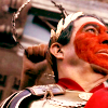 prodigy: Julius Caesar from HBO's Rome painted and adorned for his triumph. (it was a wicked and wild wind)