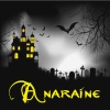 "anaraine: A tall house lit by yellow light, white mist in the adjacent graveyard with ""Anaraine"" written in yellow letters. ([default] haunted house)"