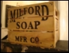 ambersweet: A wooden crate with the words 'Milford Soap Mfr. Co.' stamped on it. (Soapbox)