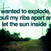 "avia: Text: ""Wanted to explode, pull my ribs apart and let the sun inside"" (wanted to explode)"