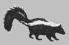 nightdog_barks: Black and white graphic of a small skunk facing right (Skunk)