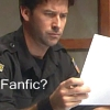 telesilla: john reading a piece of paper with the text: fanfic? (john fanfic)