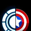 scaramouche: Captain America's shield & Iron Man's arc reactor; Civil War artwork (steve+tony)