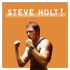 "ninamazing: Helo from BSG showing off those arms. Bright orange background, text ""Steve Holt!"" à la Arrested Development. (steve holt!)"