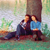 ninamazing: Jack and Kate from Slings & Arrows, leaning against their tree by the lake. (no way! so am i!)