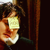 "ninamazing: Bernard Black from ""Black Books,"" on the phone with a sticky note on his forehead reading ""ON PHONE."" (sick of today, leave me alone goddammit, i am bernard black)"