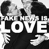 "ninamazing: B&W crop of Jon Stewart, Stephen Colbert, and Steve Carell hugging at the Emmys. Text:  ""FAKE NEWS IS LOVE""! (fake news is love)"