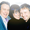 ninamazing: Philip Glenister, Keeley Hawes, and John Simm laughing together. The Life on Mars/Ashes to Ashes dream team! (crossover joy!, life on ashes to ashes)