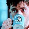 dreamtofbeing: David as Peter Carlisle in Blackpool. Drinking coffee and peering over the rim of his mug. (coffee break)