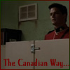 pocketmouse: Benton Fraser peering out the top of a bathroom stall: the Canadian Way (canadianway)