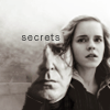 kerravonsen: Severus Snape silhuetted inside the image of Hermione Granger: secrets (secrets)