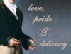 anghraine: regency man holding a book; text: love, pride & delicacy (darcy)