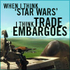 anghraine: robots against naboo background; text: when i think 'star wars' i think trade embargoes (prequels)