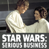 anghraine: luke and leia on the death star in anh, grinning; text: star wars: serious business (srs bznz (sw))