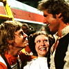 anghraine: luke, leia, and han beaming at each other in anh (han/luke/leia [anh])